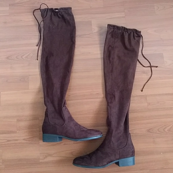 Forever 21 Shoes - Forever 21 faux suede over the knee brown boots